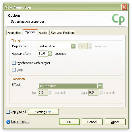 "Screenshot of Captivate's ""New Animation"" window"